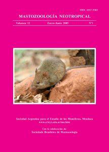 Cover of Mastozoología Neotropical Vol. 12 No. 1