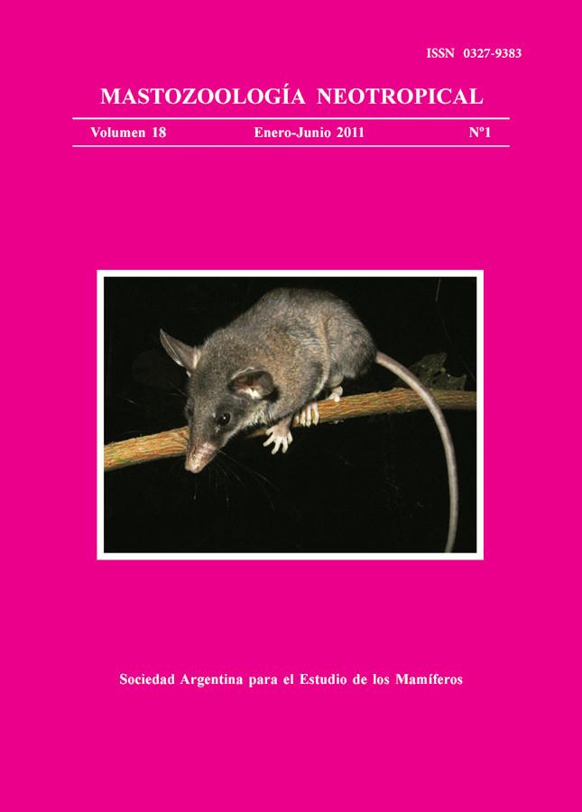 Cover of Mastozoología Neotropical Vol. 18 No. 1