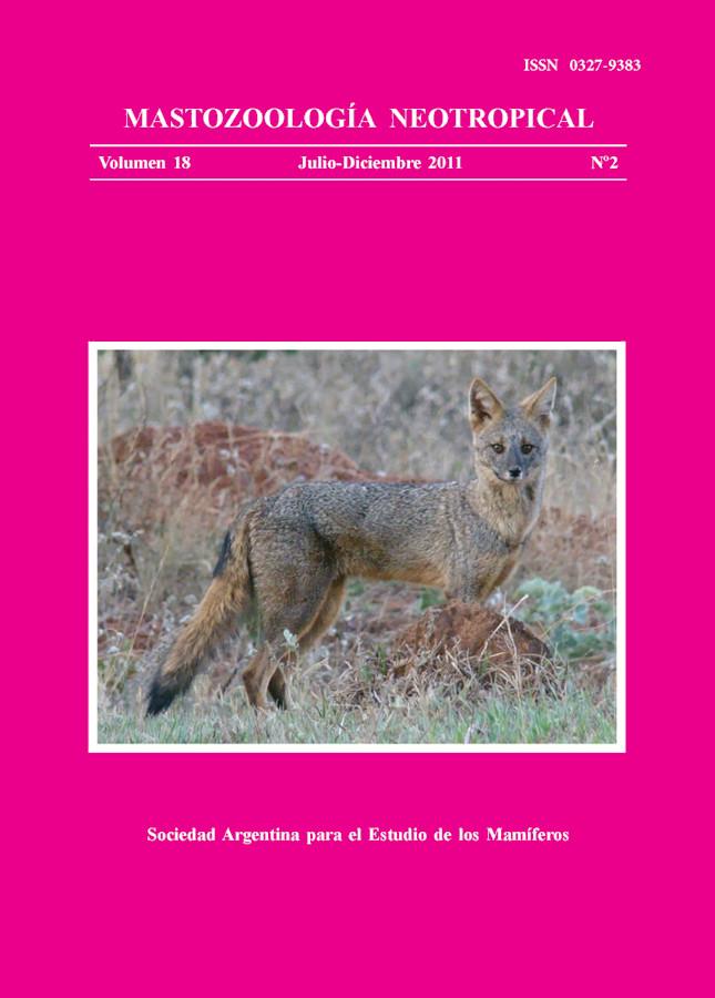 Cover of Mastozoología Neotropical Vol. 18 No. 2