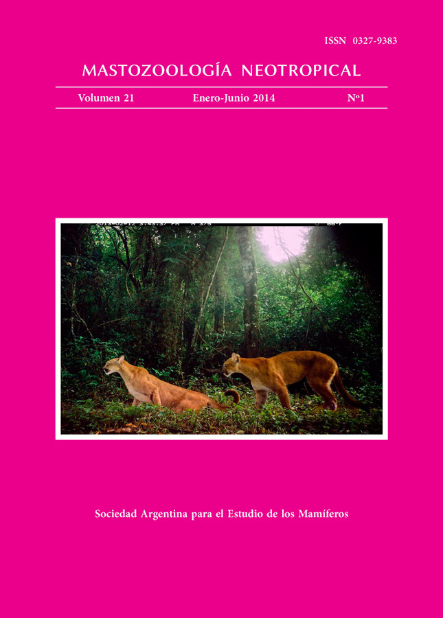 Cover of Mastozoología Neotropical Vol. 21 No. 1